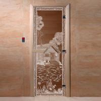 """Стеклянная дверь для бани и сауны """"Банька в лесу"""""""