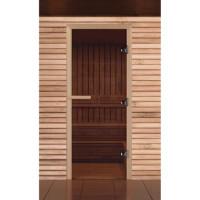 Стеклянная дверь для бани и сауны бронза коробка лиственные породы