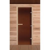 Стеклянная дверь для бани и сауны бронза матовая коробка лиственные породы