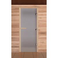 Стеклянная дверь для бани и сауны матовая сатин (белая) коробка лиственные породы