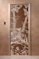 """Стеклянная дверь для бани """"Мишка в лесу"""""""
