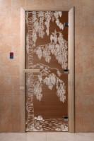 """Стеклянная дверь для бани и сауны  """"Березка"""""""